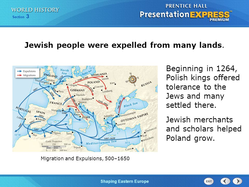 Jewish people were expelled from many lands.