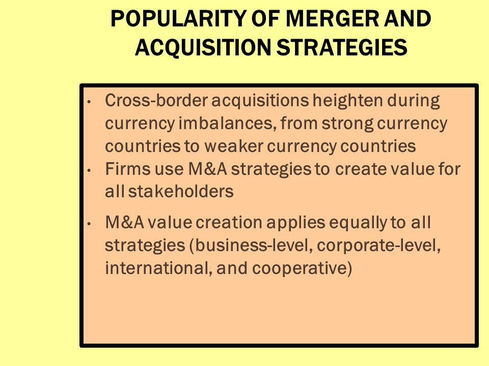 merger acquisition and international strategies marketing Strategies of mergers and acquisitions practical study on measuring  marketing strategies / 79  this doctoral thesis entitled merger and acquisition strategies.