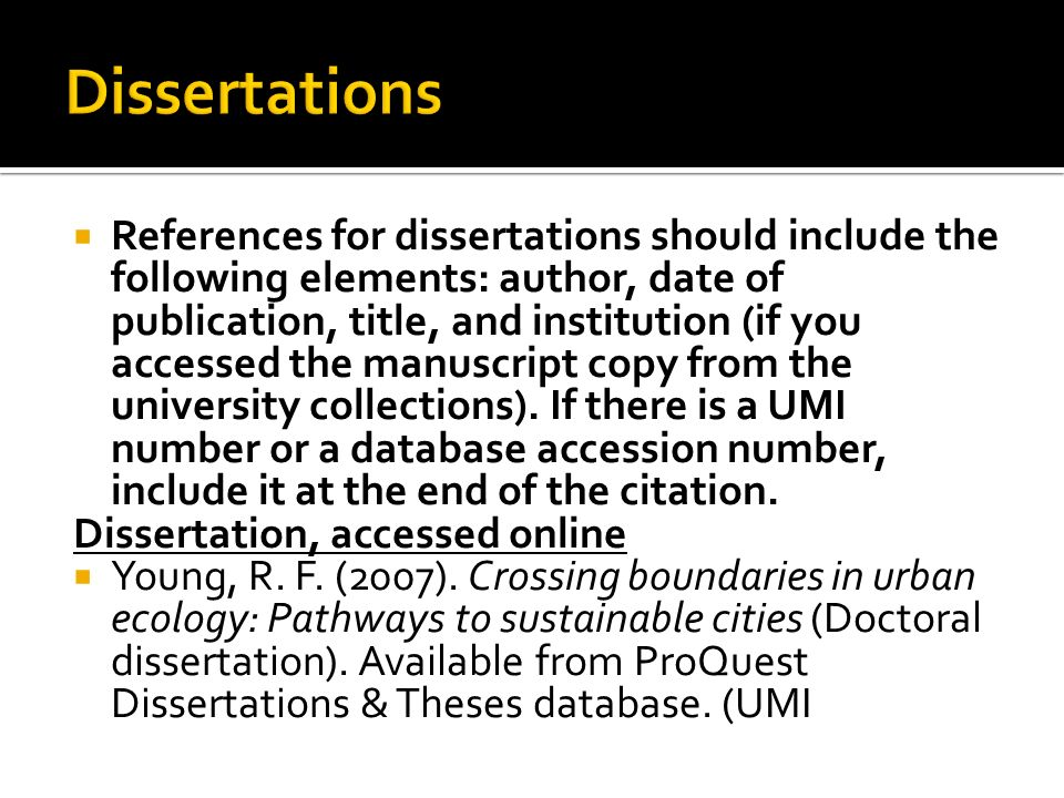 apa style + doctoral dissertation citation