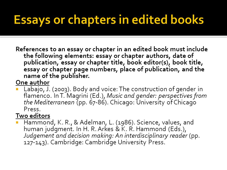 apa citing essay in book