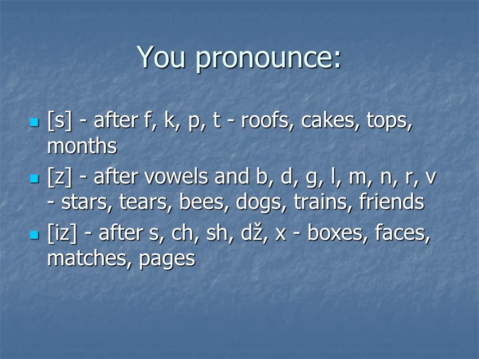 You pronounce: [s] - after f, k, p, t - roofs, cakes, tops, months