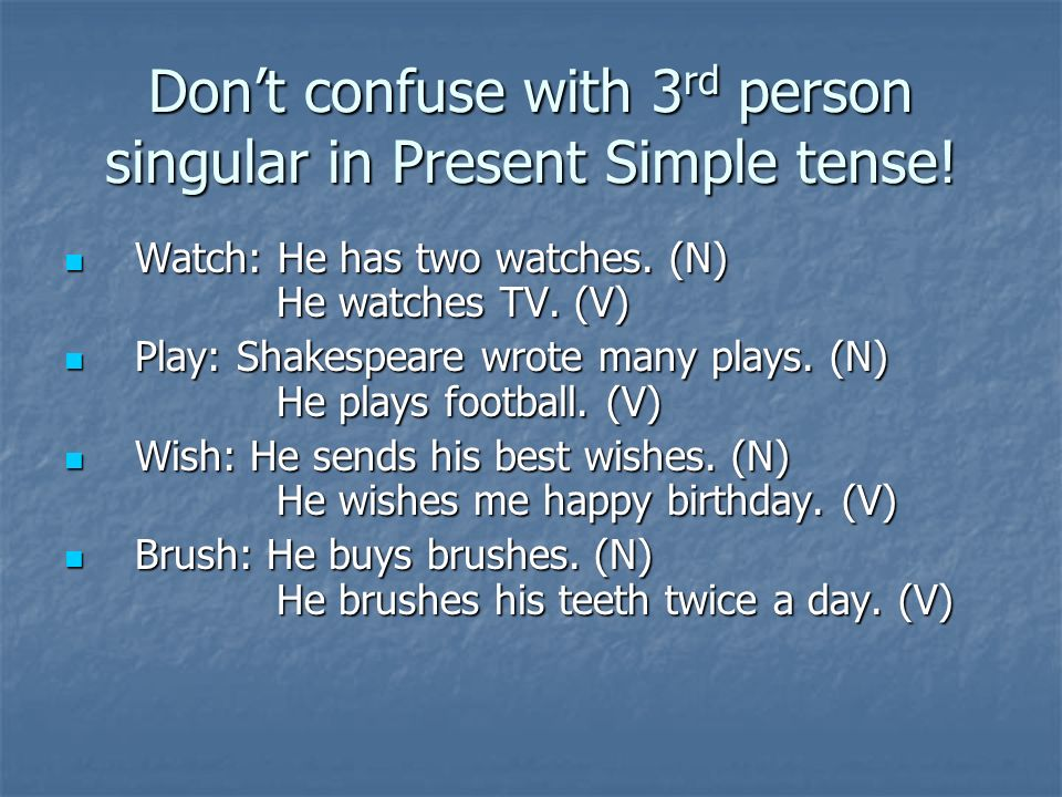 Don't confuse with 3rd person singular in Present Simple tense!