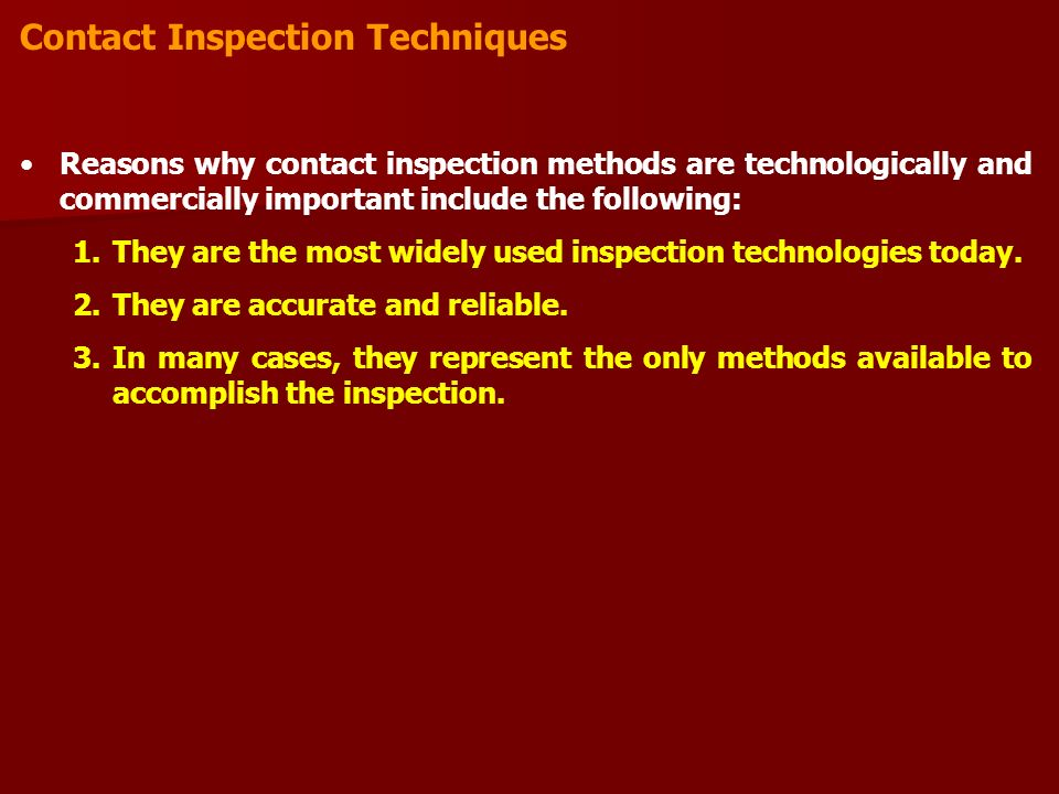 Contact Inspection Techniques