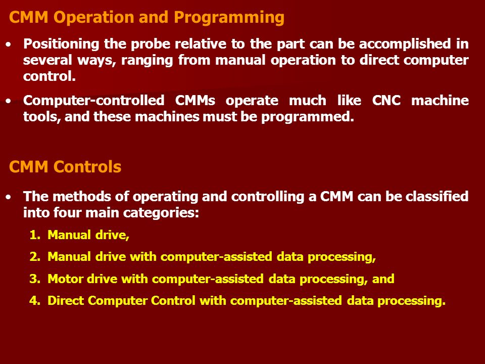 CMM Operation and Programming