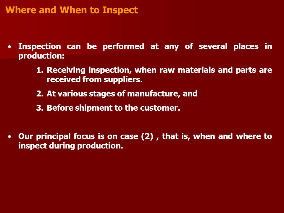 Where and When to Inspect