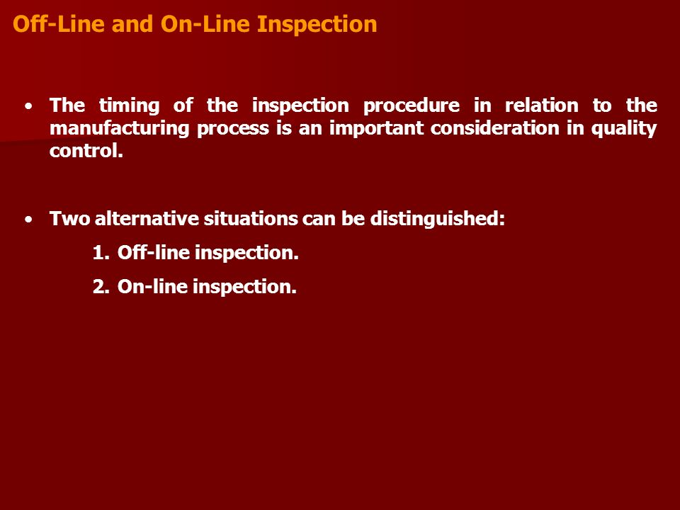 Off-Line and On-Line Inspection
