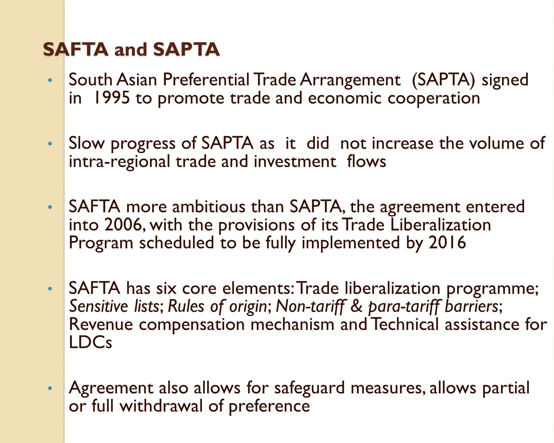 South asian free trade agreement safta issues and implications safta and sapta south asian preferential trade arrangement sapta signed in 1995 to promote platinumwayz