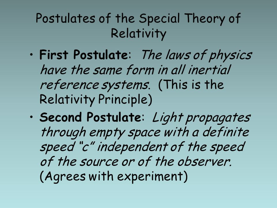 2 Einsteins Postulates In Special Theory Of Relativity Ppt Video