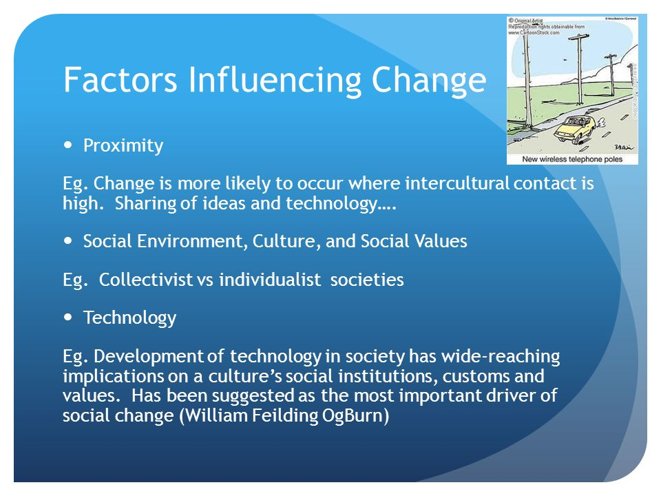 what factors bring about change in modern societies Cultural cleavages in the post-modern society, whether in rich or developing  countries,  countries take slightly different approaches to the question of public   value change is today a fundamental force behind politics and the making of  new  this is a macro problem where one would wish to identify the country  factors,.