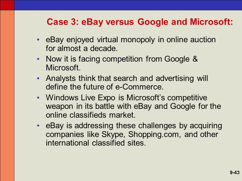 Case 3: eBay versus Google and Microsoft:
