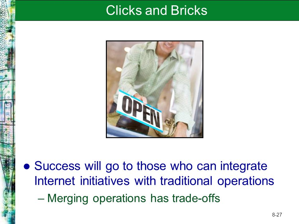 Clicks and Bricks Success will go to those who can integrate Internet initiatives with traditional operations.