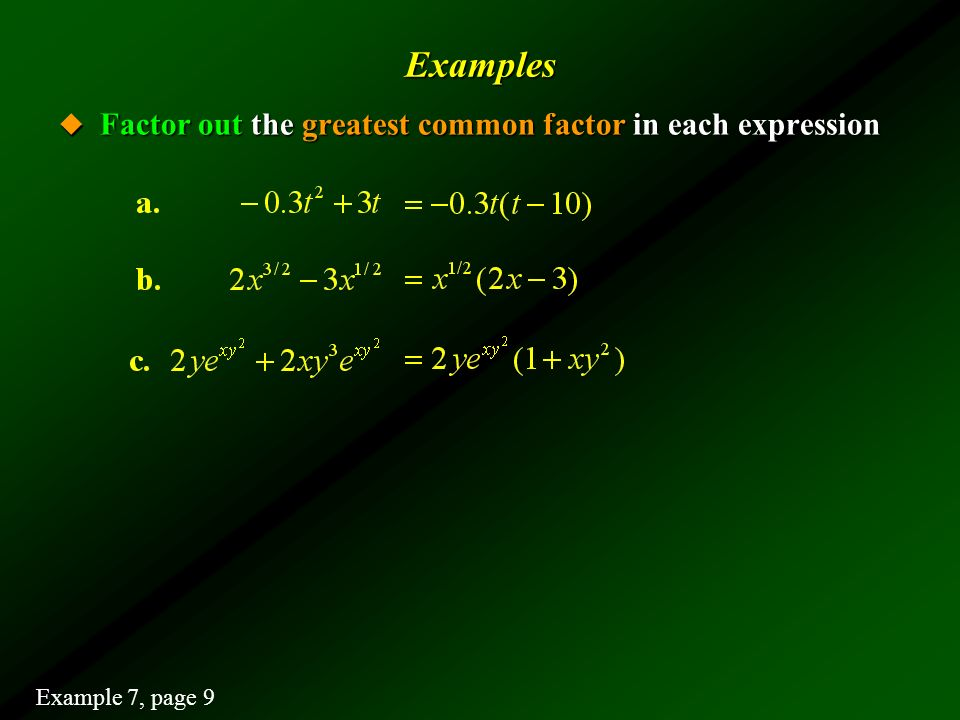 Examples Factor out the greatest common factor in each expression