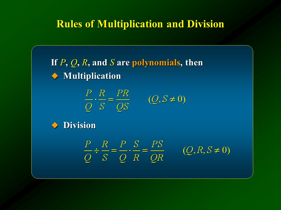 Rules of Multiplication and Division