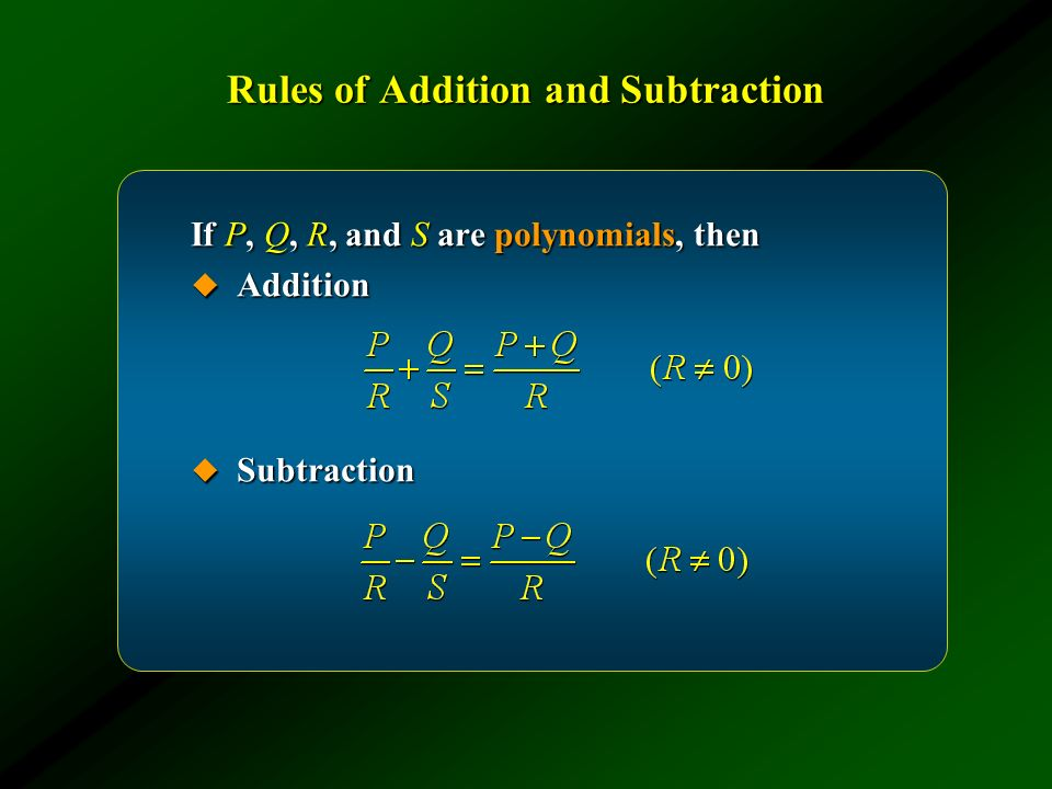 Rules of Addition and Subtraction
