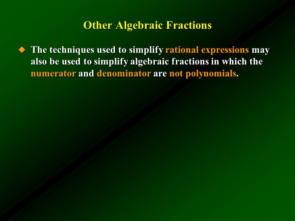 Other Algebraic Fractions