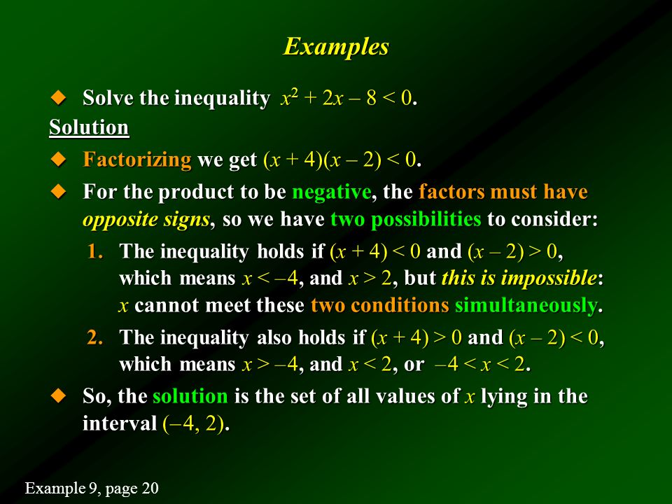 Examples Solve the inequality x2 + 2x – 8 < 0. Solution