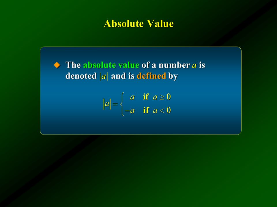 Absolute Value The absolute value of a number a is denoted |a| and is defined by