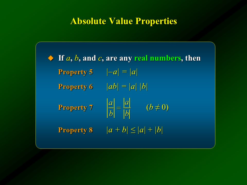 Absolute Value Properties
