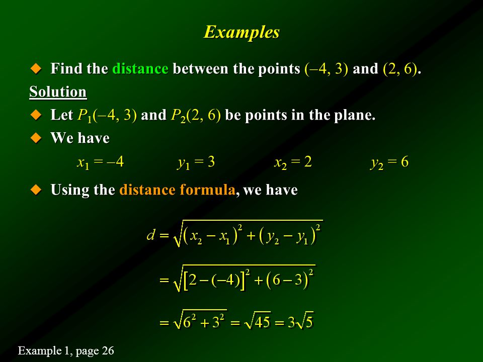 Examples Find the distance between the points (– 4, 3) and (2, 6).