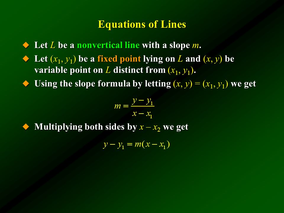 Equations of Lines Let L be a nonvertical line with a slope m.