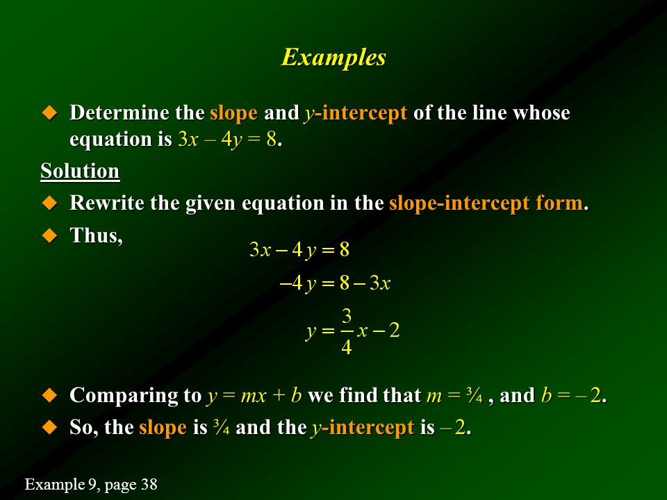 Examples Determine the slope and y-intercept of the line whose equation is 3x – 4y = 8. Solution.