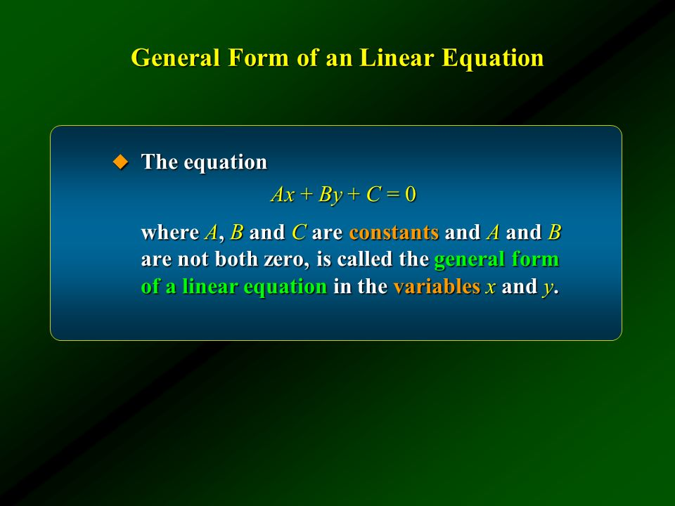 General Form of an Linear Equation