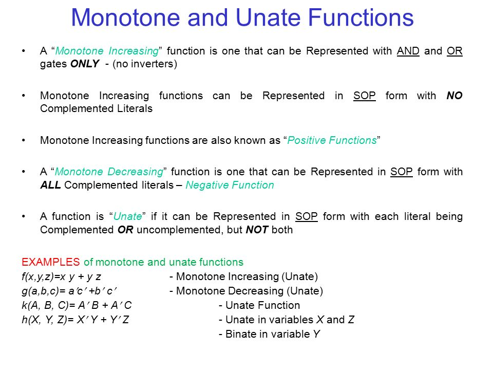 Monotone and Unate Functions
