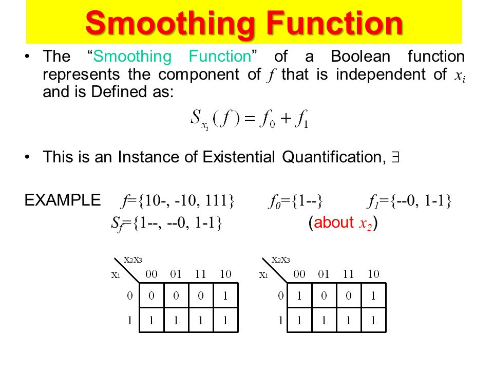 Smoothing Function The Smoothing Function of a Boolean function represents the component of f that is independent of xi and is Defined as: