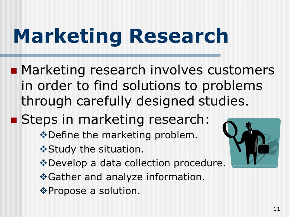 Marketing Research Marketing research involves customers in order to find solutions to problems through carefully designed studies.