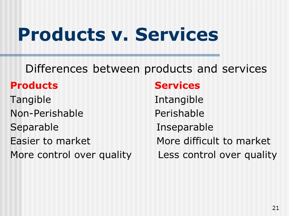 Differences between products and services