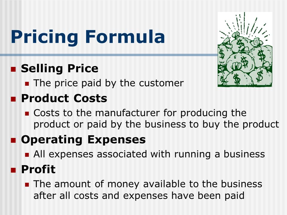 Pricing Formula Selling Price Product Costs Operating Expenses Profit