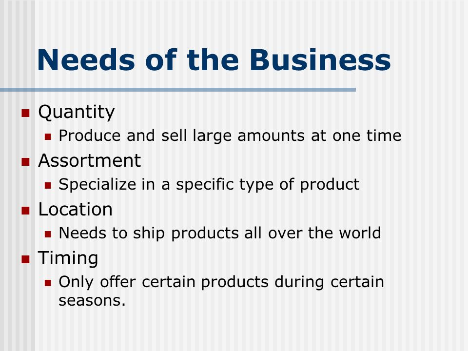 Needs of the Business Quantity Assortment Location Timing