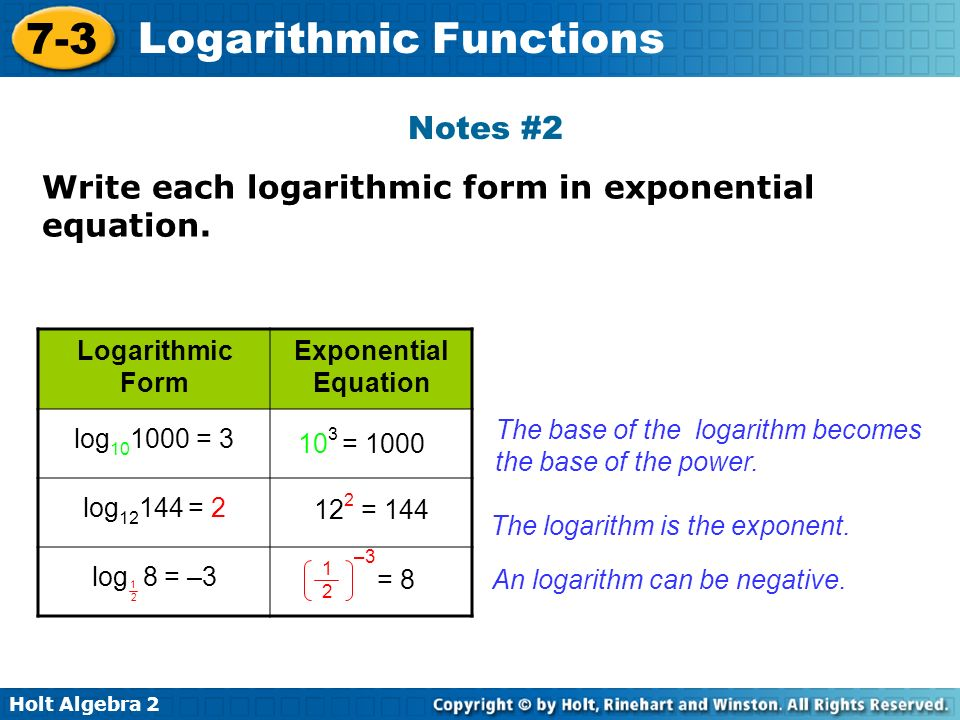 Write The Equation In Logarithmic Form - Jennarocca