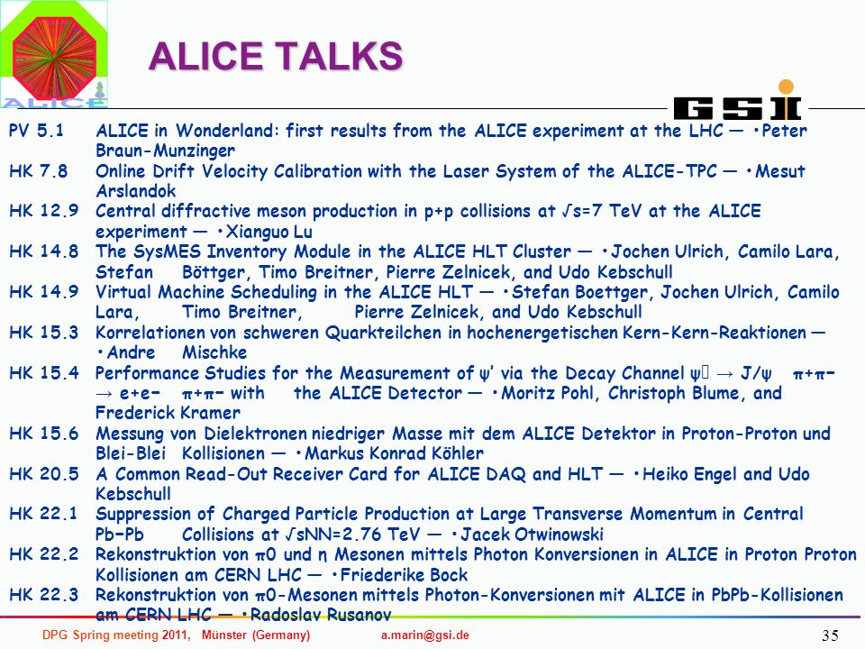 ALICE TALKS PV 5.1 ALICE in Wonderland: first results from the ALICE experiment at the LHC — •Peter Braun-Munzinger.