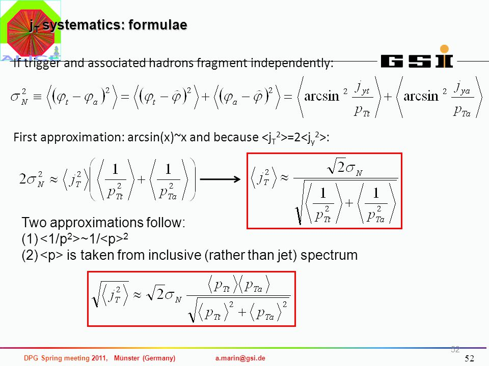 jT systematics: formulae