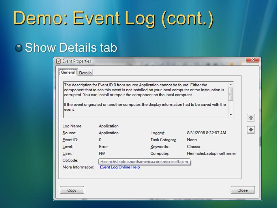 show event log