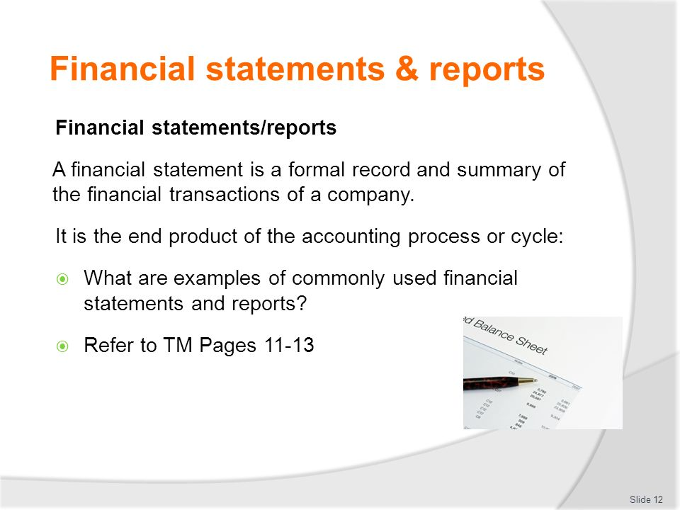 Interpret Financial Statements And Reports  Ppt Download