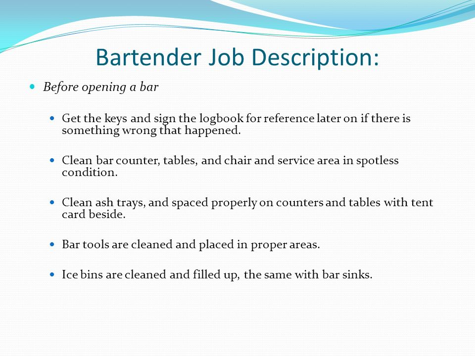 15 Bartender Job Description:  Bartender Job Description