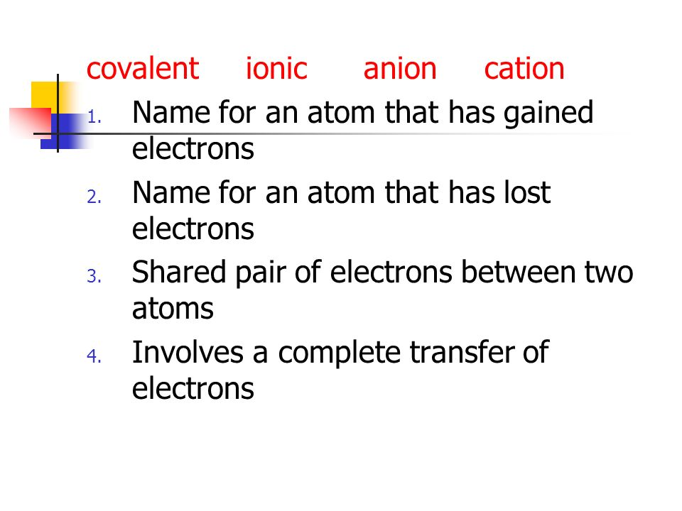 covalent ionic anion cation