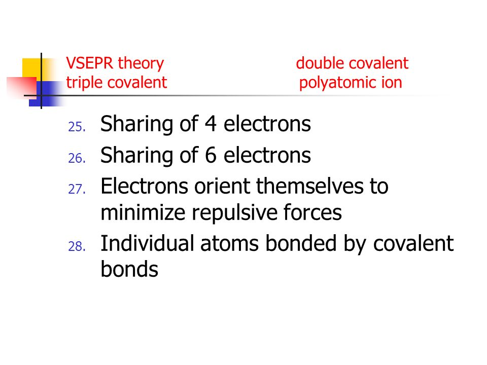 VSEPR theory double covalent triple covalent polyatomic ion