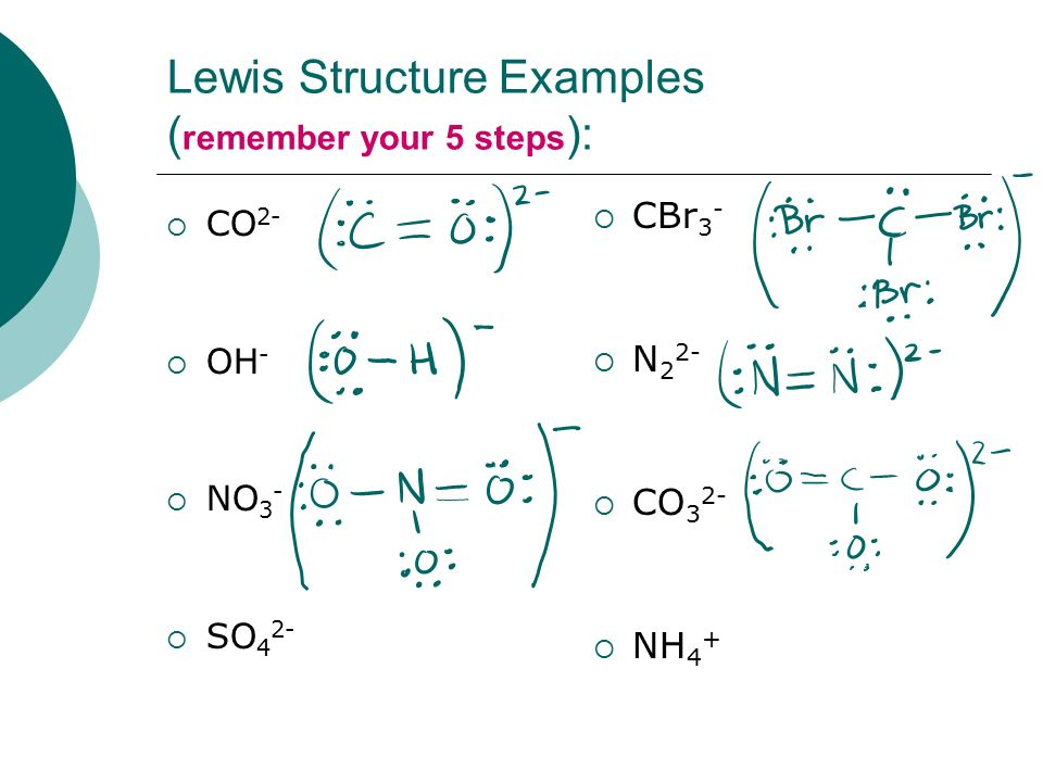 Lewis Structure Examples (remember your 5 steps):
