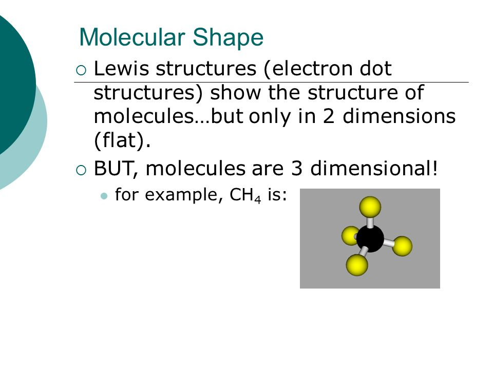 Molecular Shape Lewis structures (electron dot structures) show the structure of molecules…but only in 2 dimensions (flat).