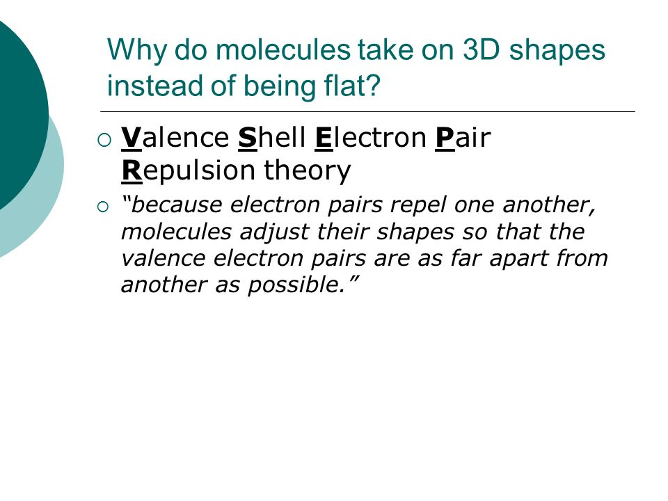 Why do molecules take on 3D shapes instead of being flat