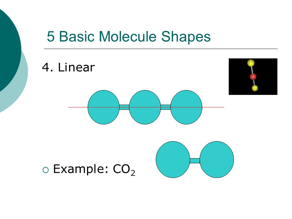 5 Basic Molecule Shapes 4. Linear Example: CO2