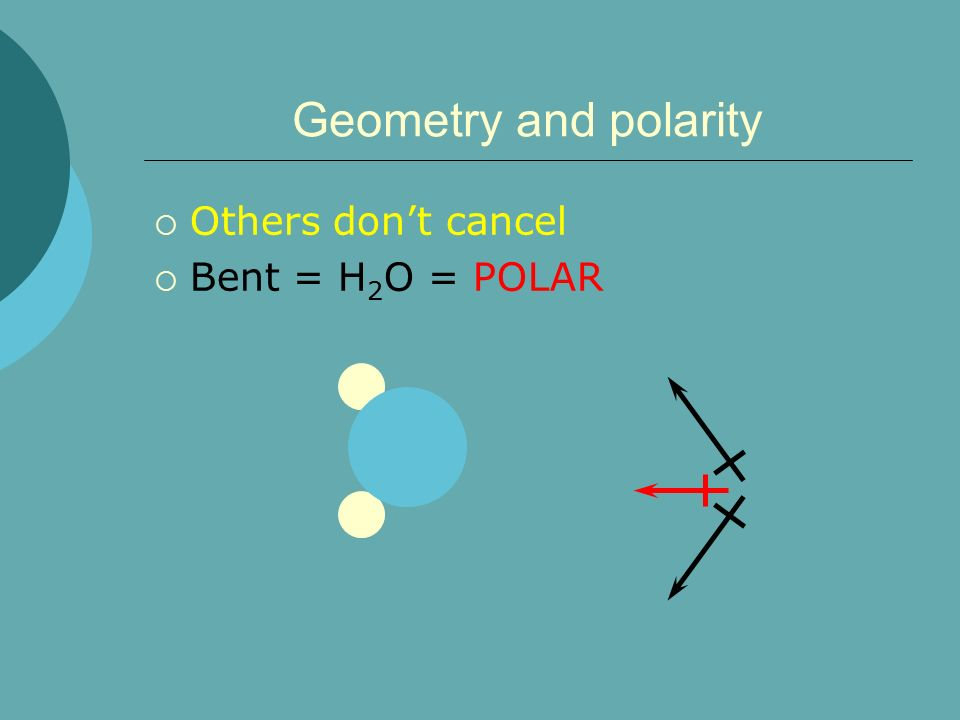 Geometry and polarity Others don't cancel Bent = H2O = POLAR