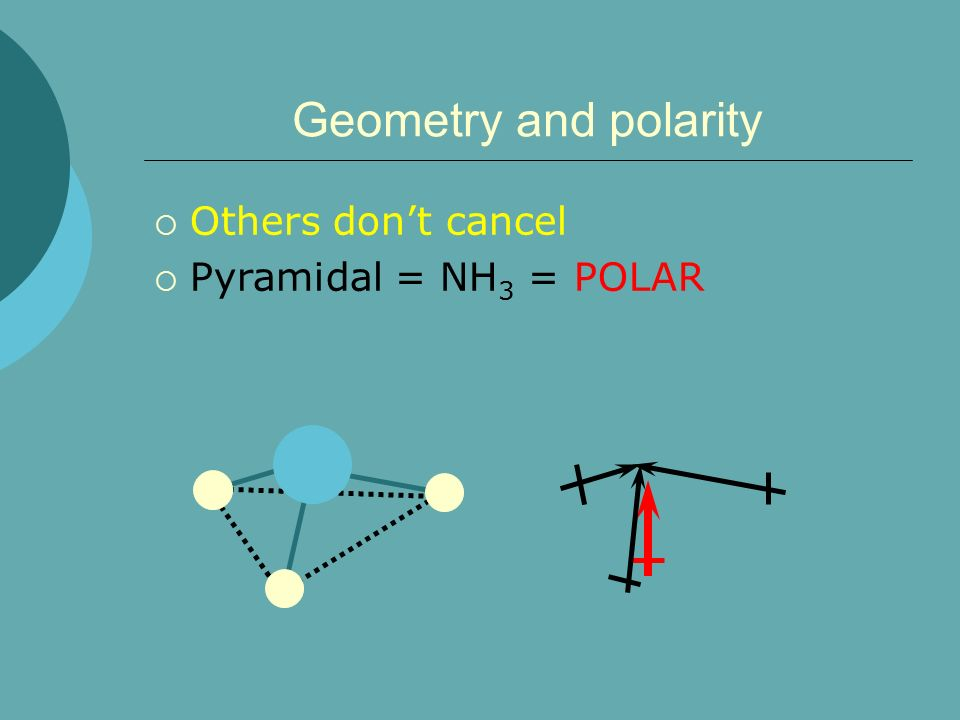 Geometry and polarity Others don't cancel Pyramidal = NH3 = POLAR