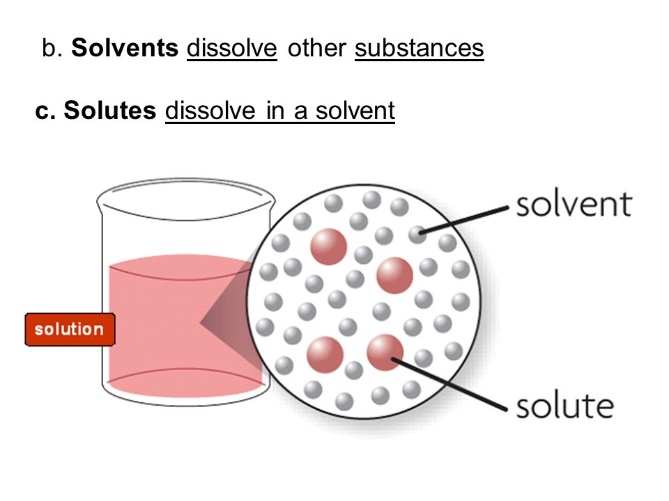 b. Solvents dissolve other substances c. Solutes dissolve in a solvent