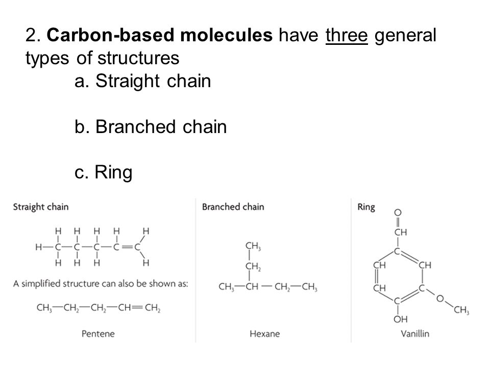 2. Carbon-based molecules have three general types of structures