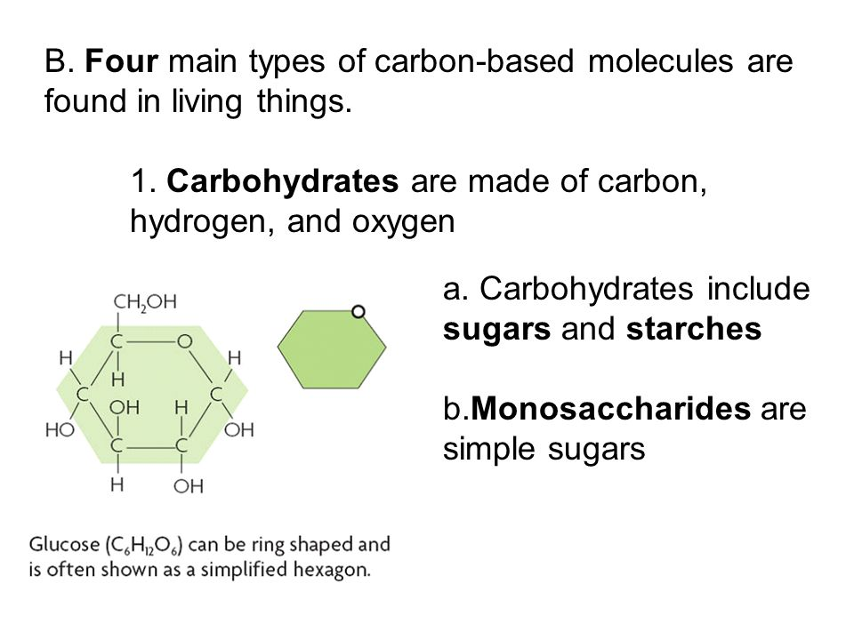 1. Carbohydrates are made of carbon, hydrogen, and oxygen