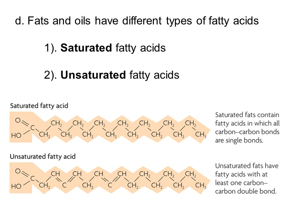 d. Fats and oils have different types of fatty acids